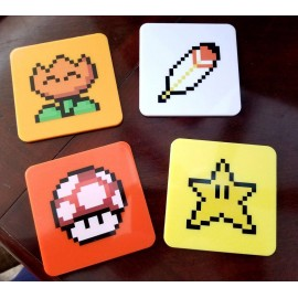 Lot de 4 sous-verres Super Mario World Power-Ups Lootcrate Exclusive