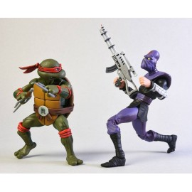 Pack de 2 figurines Tortues Ninja Raphael Vs. Foot Soldier