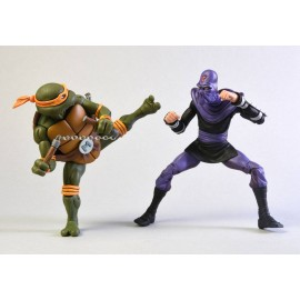 Pack de 2 figurines Tortues Ninja Michelangelo Vs. Foot Soldier