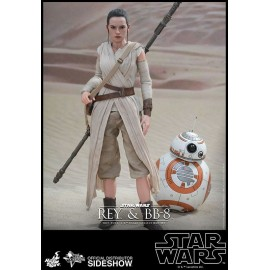 Pack 2 Figurines Hot Toys Star Wars Episode VII Movie Masterpiece 1/6 Rey & BB-8