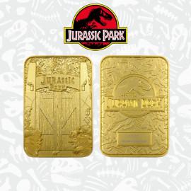 Réplique en métal plaqué or ticket Jurassic Park Entrance Gates